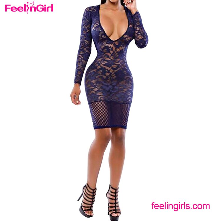 New Arrival Blue Lace V Neck 2016 Club Bodycon Sexy Ladies One Piece Dress