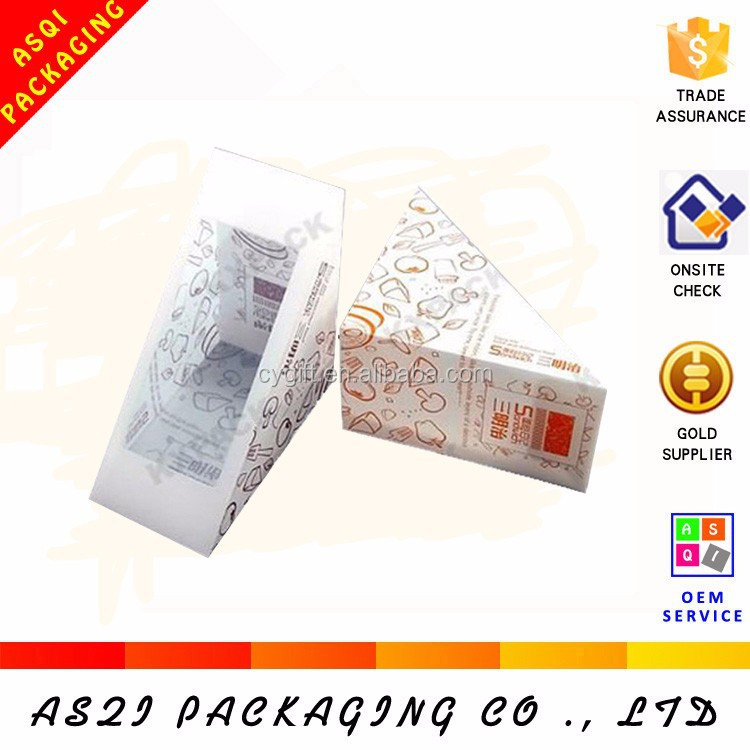 clear window food grade recycle paper pizza packaging triangle sandwich box