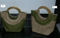 PP Laminated Jute Unisex Tote hand Bag with Wooden Handle