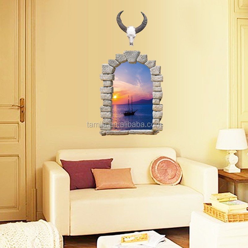 3D creative wall stickers sunset window wall decals
