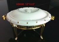 H9008 H9005 H9010 fine porcelain cooking pot with gold iron stand