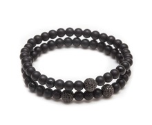 New Arrival Crafted With 18k Rose Gold Plated Zircon Disc Balls And 6mm Matte Black Onyx Beads Natural Stone Bracelets
