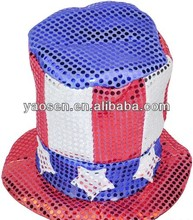 polyester Sequin american flag top hat with star and stripes