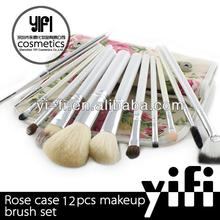 Wholesale cosmetics usa Rose 12pcs brush bag makeup brush set