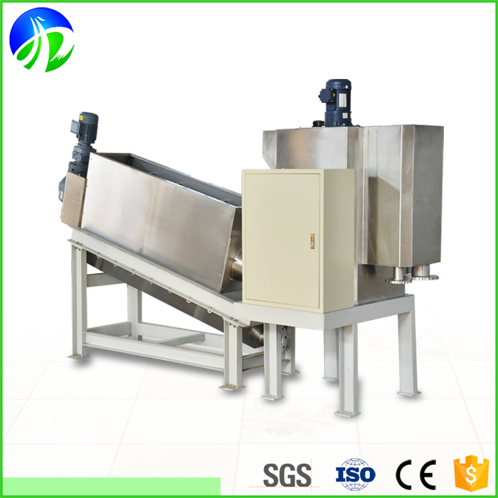 Screw press multi-disc sludge dewatering equipment for food process plant