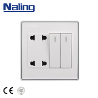 Naling Products Manufacturer 2 Gang 2 Way PC Plate Wall Switch Electrical Plug Socket