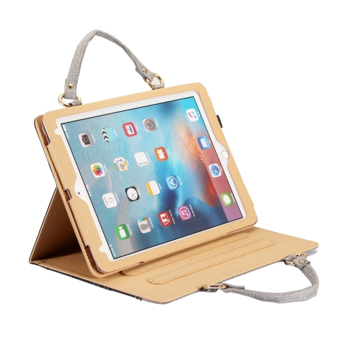 For <strong>iPad</strong> 9.7 inch (2017) / Pro 9.7 inch / Air 2 / Air Jeans Texture Universal Horizontal Flip Handle Leather Case with Holder