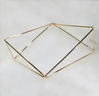 Brass three-dimensional geometry hollow-out bracelet gold plated jewelry wholesale cheap jewelry