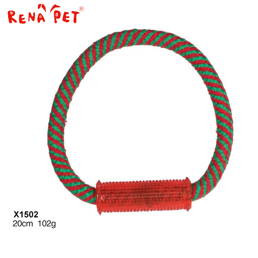 Christmas dog toy resistance to bite dog cotton rope toy for training dog