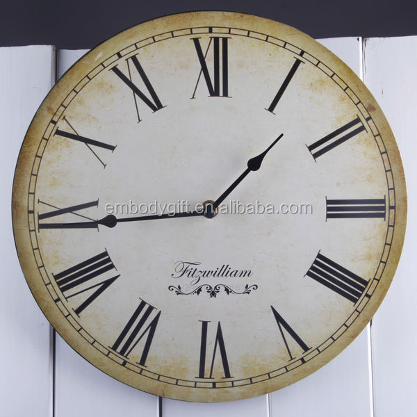 Round Shape Home Decoration MDF Digital Antique Promotional Wall Clock