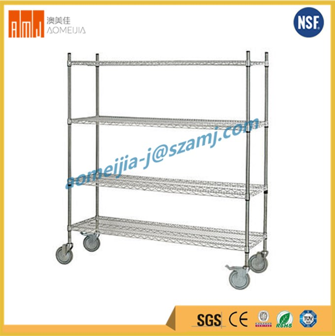 Household used weight bearing 4 layer Rolling Chrome Wire Shelving with wheel