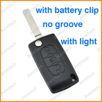 peugeot 307 flip key fob shell with light has battery holder no groove car remote key