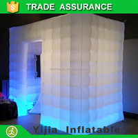 free ship white cube LED lights open photo booth shell for wedding
