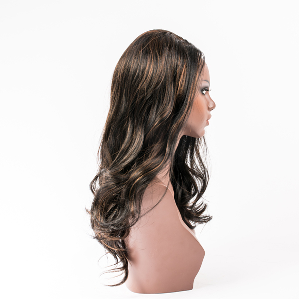 highlight dark brawn hair big curl lace front synethetic hair wig