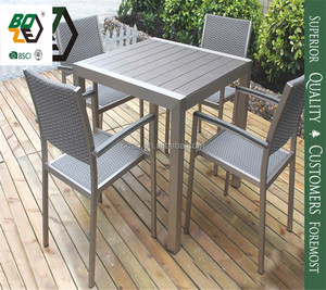 High quality outdoor table set poly wood 4chairs dining set