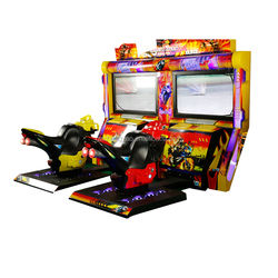 Popular 2 Player Arcade Electric Car Bike For Kids to Drive Race Game Supplier TT Motor Luxury