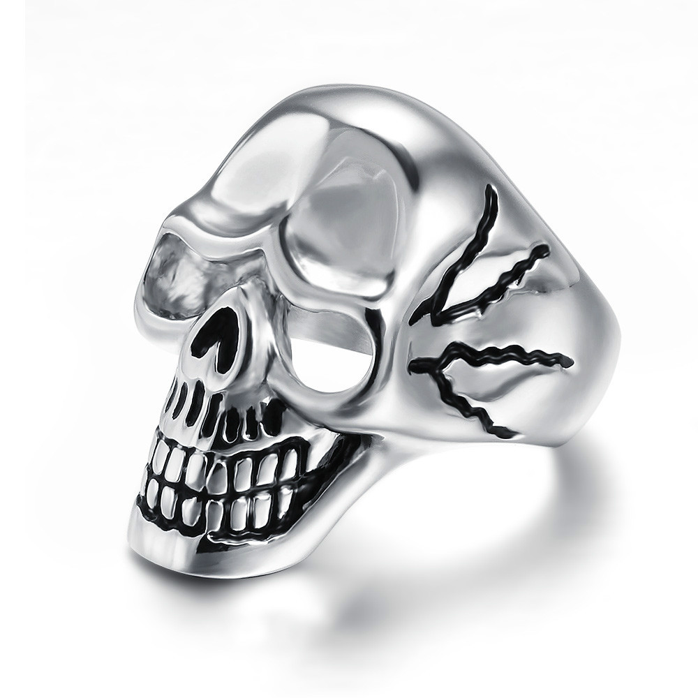 New Design Mens Fashion 316I Stainless Steel Antique Skull Ring with Zircon Stone Jewelry
