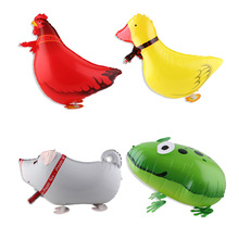 Inflatable foil Walking pet Balloons foil walking frog Chicken ducks and pig shaped balloons for party decoration kids toys
