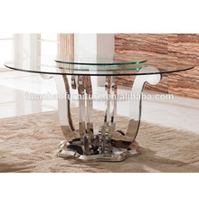 Fashion 6 seats stainless steel round rotating dining table and glass top DH-831