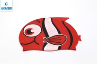 Fish Design Funny Cartoon Cap custom logo adult kid size silicone swim cap