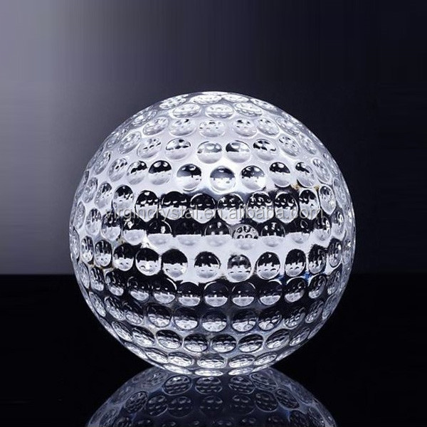 New design Laser engraved Crystal Glass Golf Ball Paperweight With clear Cube Base as sport souvenir gifts or awards