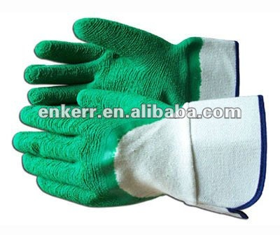 green latex coated glove rubber dipped gloves