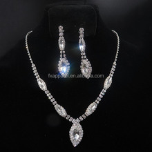 White Marquise Crystal Earrings Necklace Set bridal wedding jewelry set G0090-2