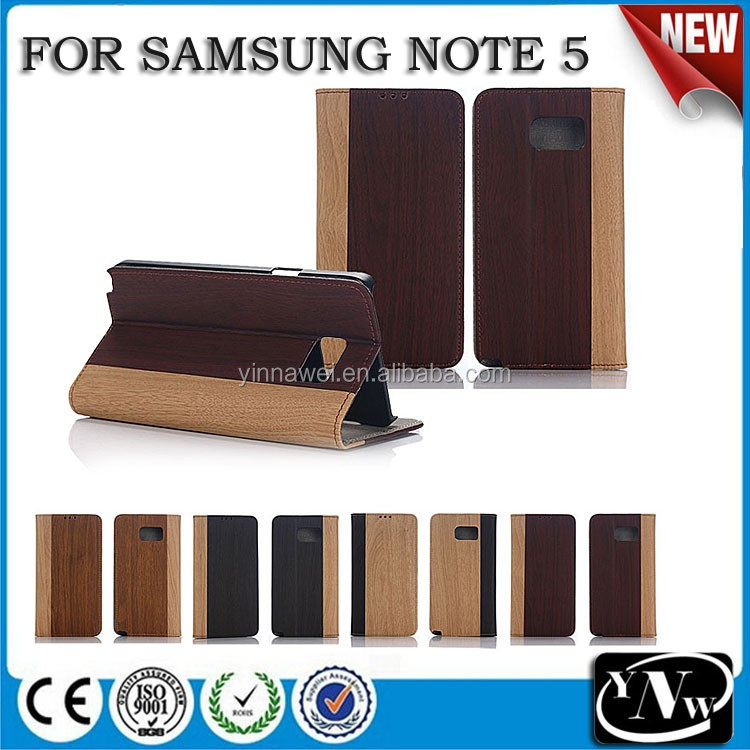 Hot selling wood grain flip leather Case For Samsung Note5