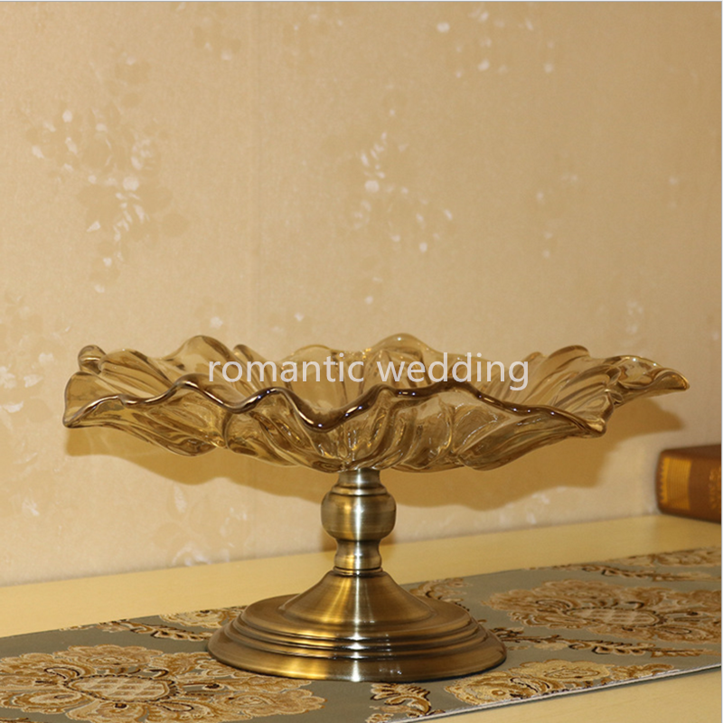 Flower shaped glass fruit tray/dessert plate for wedding/party/event decoration