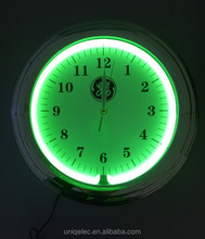 Round plastic neon light wall clock for home