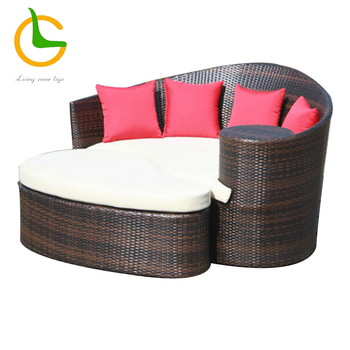 All weather handwoven rattan round outdoor sofa bed