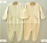 100% organic cotton baby romper with pocket for 0-24M