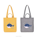 Various colors high quality zipper cotton canvas tote bag with shoulder straps