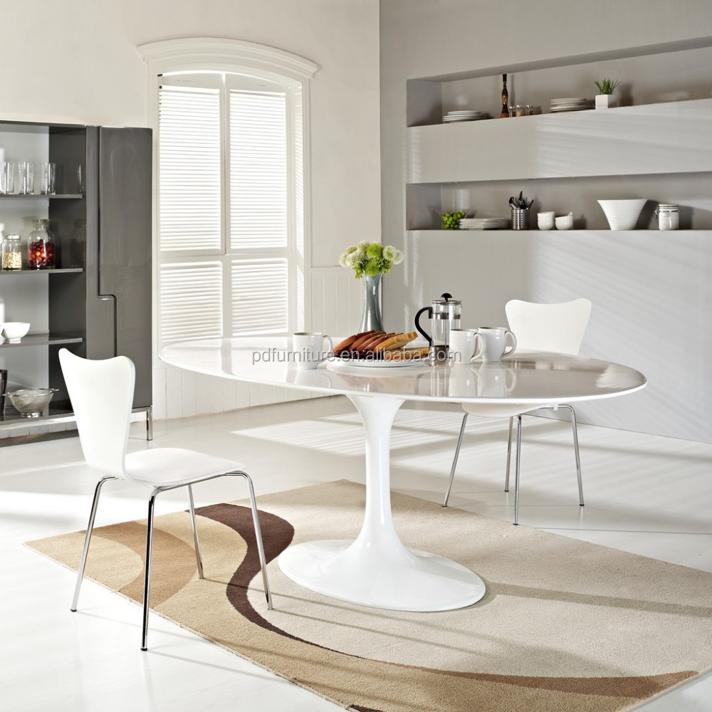 New design white glossy dining room furniture aluminum leg oval tulip marble table