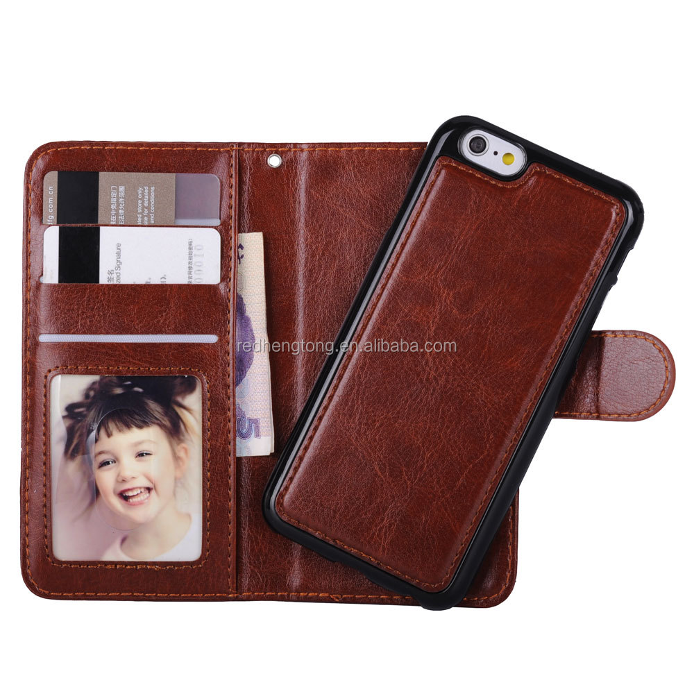 High quality 2 in 1 wallet back cover shell PU leather phone casefor <strong>iphone</strong> 6s