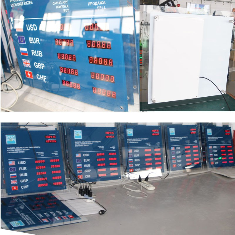 foreign money exchange rates/BT6-81L82H-R Currency Exchange Rate Board OEM/ODM(3 columns)