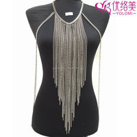 Vibrating Body Jewelery Gold & Silver Tassel Necklace Body Chain Jewelry YMBD1-318