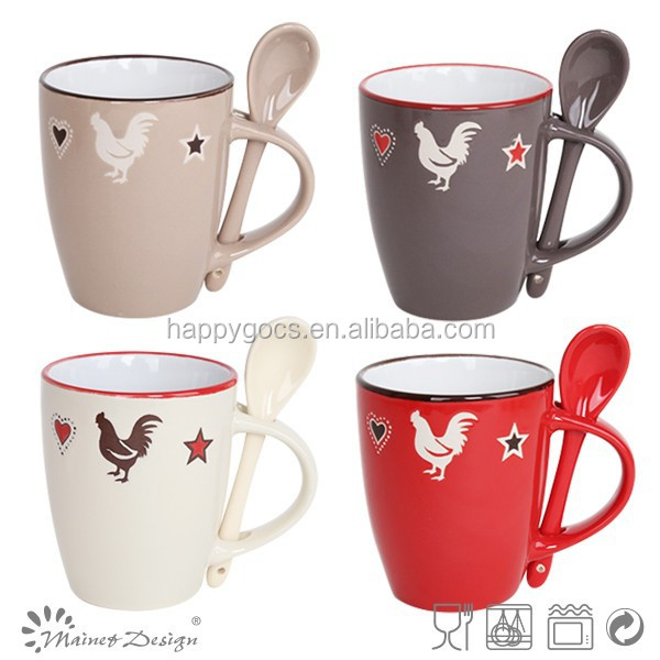 hot selling customized mug with spoon for easter day