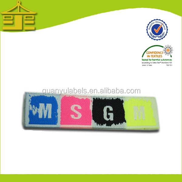 Newest fashion customized best sale wash care woven label for dress/shoes wholesale in Guangzhou