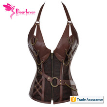 sexy new design 14 steel bone back support leather corset