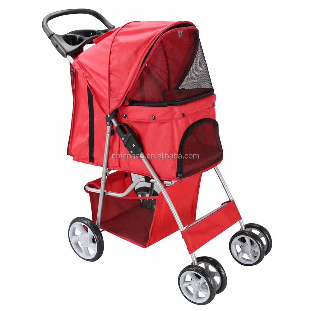 US Collapsible Portabel Red Dogs & Cats Stroller/ 4-Wheels Luxury Travelling Pet Stroller Trolley