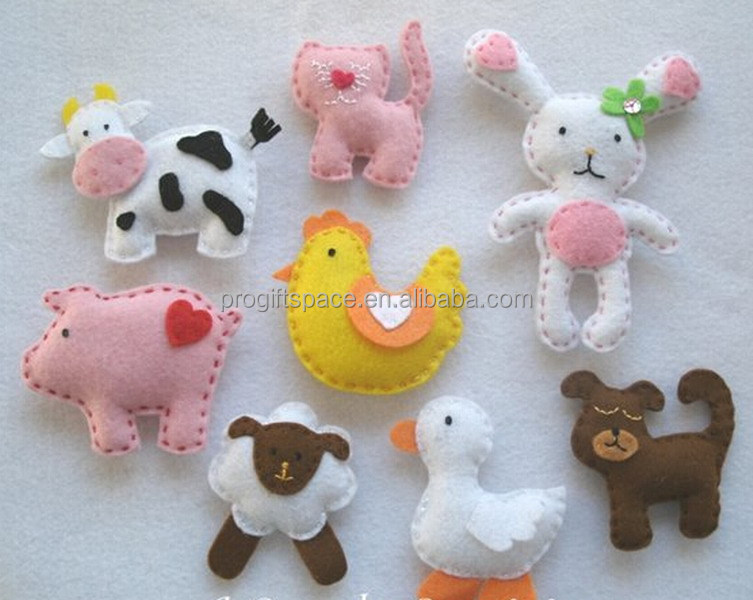 2017 New hot sales fabric animal decoration kids item duck/rabbit/dog/rabbit craft ornament wholesale felt funny Christmas gifts