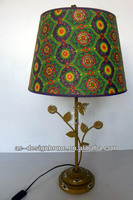 MOROCCAN PATTERN LIME GREEN POLYESTER/METAL TABLE LAMP
