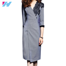 Yihao OEM New latest design office lady dress women fashion 3/4 sleeve v neck Bodycon embroidery formal dress women office wear