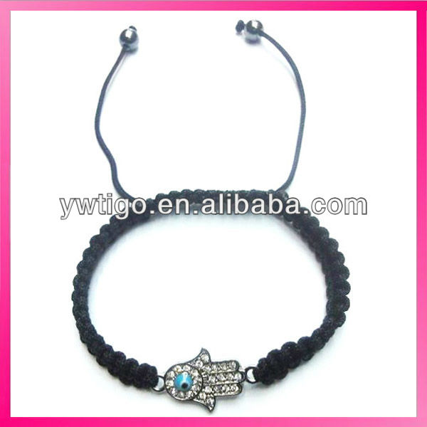 lucky hamsa friendship bracelet with rhinestone and evil eye