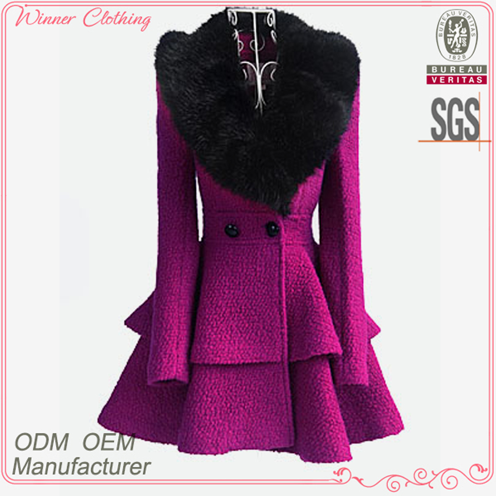 2015 winter women's coat fancy bodysuit big fur collar shift flare skirt unique women winter coats