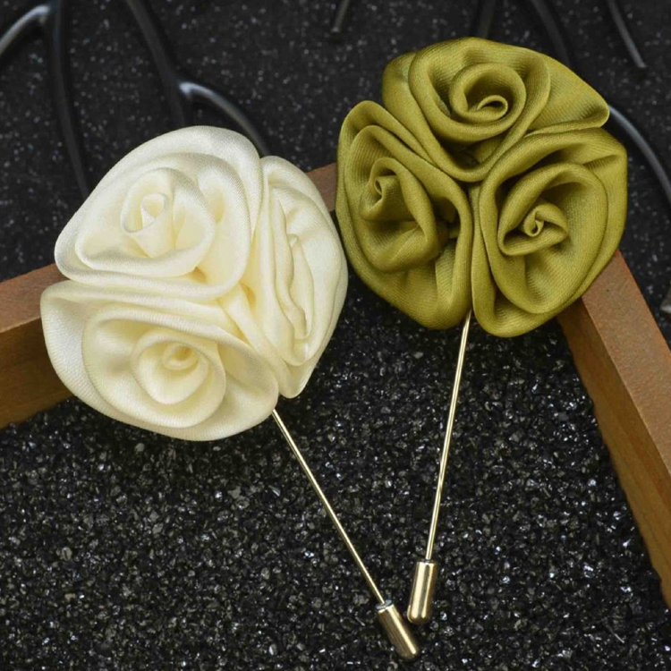 Craft Wedding Satin Fabric Brooch Long Needle Vintage Flower Lapel Pin