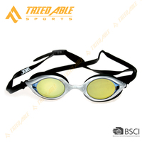 Adult Rainbow coating racing swim goggles with colorful mirror lens