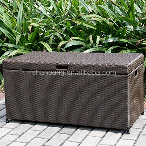 Luxury Outdoor Garden Black Rattan Storage Box Cupboard Chest
