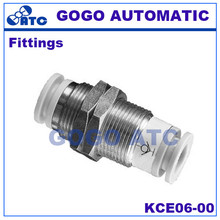SMC type high quality fittings KCE06-00 O.D 6mm thread bulkhead union self-sealing fittings with copper pneumatic components